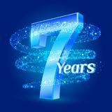 7 years shine anniversary 3d logo celebration with glittering spiral star dust trail sparkling particles. Seven years anniversary. Modern design elements Vector Illustration