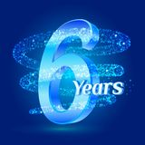 6 years shine anniversary 3d logo celebration with glittering spiral star dust trail sparkling particles. Six years anniversary mo. Dern design elements. Vector Royalty Free Illustration