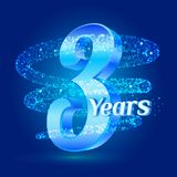 3 years shine anniversary 3d logo celebration with glittering spiral star dust trail sparkling particles. Three years anniversary. Modern design elements Vector Illustration