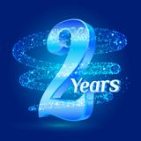 2 years shine anniversary 3d logo celebration with glittering spiral star dust trail sparkling particles. Two years anniversary mo. Dern design elements. Vector Stock Illustration