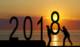 2018 years and silhouette man Royalty Free Stock Photography