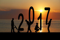 2017 years and silhouette man Stock Images