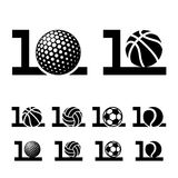 10 years sport ball anniversary. Illustration for the web Stock Image