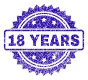 Grunge 18 YEARS Stamp Seal. 18 YEARS stamp imprint with dirty style. Blue vector rubber seal print of 18 YEARS title with dirty texture stock illustration