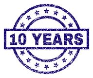 Scratched Textured 10 YEARS Stamp Seal. 10 YEARS stamp seal watermark with distress texture. Designed with rectangle, circles and stars. Blue vector rubber print vector illustration