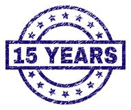 Scratched Textured 15 YEARS Stamp Seal. 15 YEARS stamp seal watermark with grunge texture. Designed with rectangle, circles and stars. Blue rubber print of 15 Vector Illustration