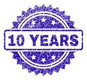 Grunge 10 YEARS Stamp Seal. 10 YEARS stamp watermark with corroded style. Blue vector rubber seal print of 10 YEARS title with corroded texture royalty free illustration