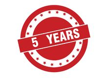 5 years text on red stamp vector design. Isolated on white background stock illustration