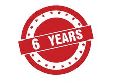 6 years text on red stamp vector design. On white background royalty free illustration