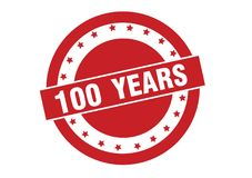100 years text on red stamp vector design. Isolated on white background royalty free illustration