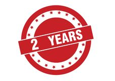 2 years text on red stamp vector. Isolated on white vector illustration