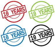 10 YEARS text, on round simple stamp sign. Royalty Free Stock Photo