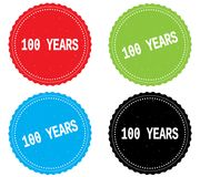 100 YEARS text, on round wavy border stamp badge. 100 YEARS text, on round wavy border stamp badge, in color set Stock Photo