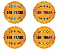 100 YEARS text, on round wavy border vintage, stamp badge. 100 YEARS text, on round wavy border vintage stamp badge, in color set Stock Image