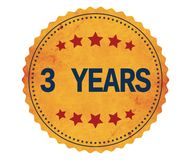 3-YEARS text, on vintage yellow sticker stamp. Royalty Free Stock Photos