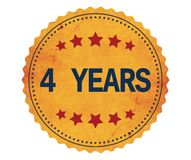 4-YEARS text, on vintage yellow sticker stamp. Royalty Free Stock Image