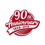 90years verjaardagsontwerpsjabloon Vector en illustratie 90ste embleem stock illustratie