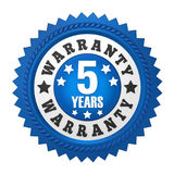 5 Years Warranty Badge Isolated. On white background. 3D render vector illustration