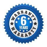 6 Years Warranty Badge Isolated. On white background. 3D render vector illustration