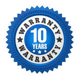 10 Years Warranty Badge Isolated. On white background. 3D render royalty free illustration