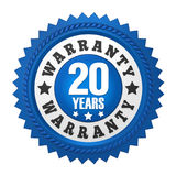 20 Years Warranty Badge Isolated. On white background. 3D render Stock Photography