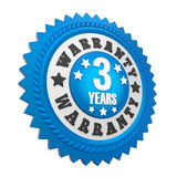3 Years Warranty Badge Isolated. On white background. 3D render vector illustration