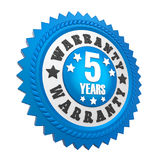 5 Years Warranty Badge Isolated. On white background. 3D render stock illustration