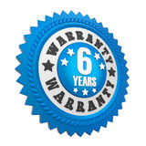 6 Years Warranty Badge Isolated. On white background. 3D render royalty free illustration
