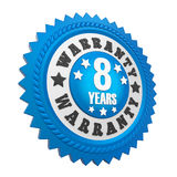 8 Years Warranty Badge Isolated. On white background. 3D render royalty free illustration