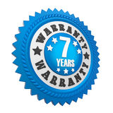 7 Years Warranty Badge Isolated. On white background. 3D render royalty free illustration