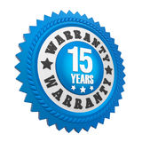 15 Years Warranty Badge Isolated. On white background. 3D render stock illustration