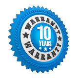 10 Years Warranty Badge Isolated. On white background. 3D render stock illustration