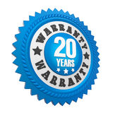 20 Years Warranty Badge Isolated. On white background. 3D render Royalty Free Stock Images