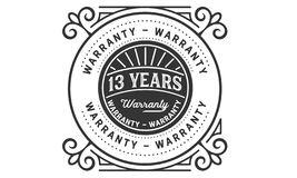 13 years warranty design vintage,best stamp collection. 13 years warranty design,best black stamp illustration royalty free illustration