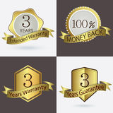 3 years Warranty / Extended Warranty / Guarantee / 100% Cash Back Stock Images