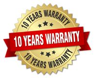 10 years warranty. Gold badge with red ribbon vector illustration