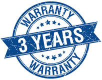 3 years warranty grunge retro blue stamp Royalty Free Stock Photography