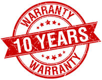 10 years warranty grunge retro red ribbon stamp Stock Photography