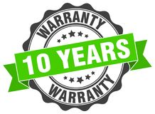 10 years warranty stamp. 10 years warranty grunge stamp on white background Royalty Free Stock Photo