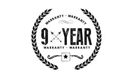 9 years warranty icon vintage rubber. Stamp guarantee Stock Images