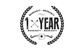 1 years warranty icon vintage rubber. Stamp guarantee Stock Image