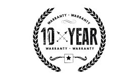 10 years warranty illustration design stamp. 10 years warranty black illustration design stamp badge icon vector royalty free illustration