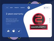 2 years warranty Landing page website template design. Quality One Page 2 years warranty Website Template Vector Eps, Modern Web Design with flat UI elements and Stock Photography