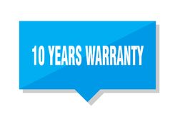 10 years warranty price tag. 10 years warranty blue square price tag Royalty Free Stock Photos