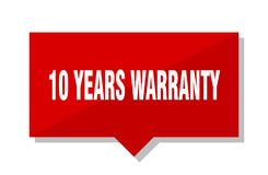 10 years warranty price tag. 10 years warranty red square price tag Stock Image