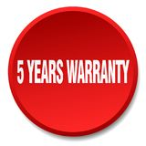 5 years warranty button. 5 years warranty round button isolated on white background. 5 years warranty royalty free illustration