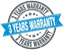 3 years warranty stamp. 3 years warranty round grunge vintage ribbon stamp. 3 years warranty Royalty Free Stock Photo