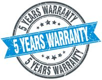 5 years warranty stamp. 5 years warranty round grunge vintage ribbon stamp. 5 years warranty Stock Photos