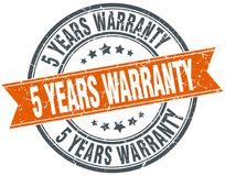 5 years warranty stamp. 5 years warranty round grunge vintage ribbon stamp. 5 years warranty Stock Photography