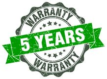 5 years warranty seal. 5 years warranty round ribbon seal isolated on white background Royalty Free Stock Images